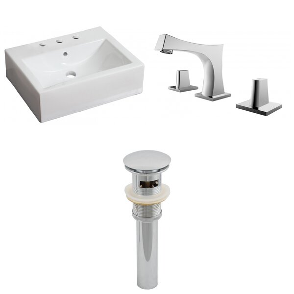 Ceramic 21 Wall-Mount Bathroom Sink with Faucet and Overflow by Royal Purple Bath Kitchen