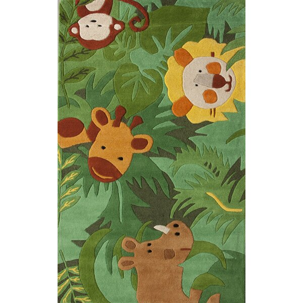 Kinder Safari Friends Green Area Rug by nuLOOM