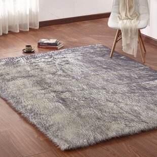 Zoya Faux Fur Gray Area Rug