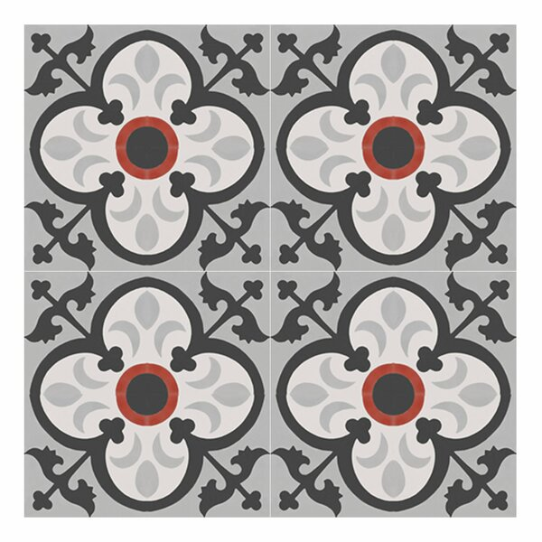 Nador 8 x 8 Cement Field Tile in Black/Gray by Moroccan Mosaic