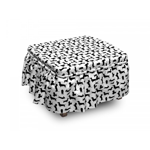 Dog Lover Monochorme Canine 2 Piece Box Cushion Ottoman Slipcover Set By East Urban Home