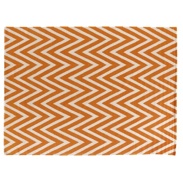Hand-Woven Wool Cream/Orange Area Rug by Exquisite Rugs