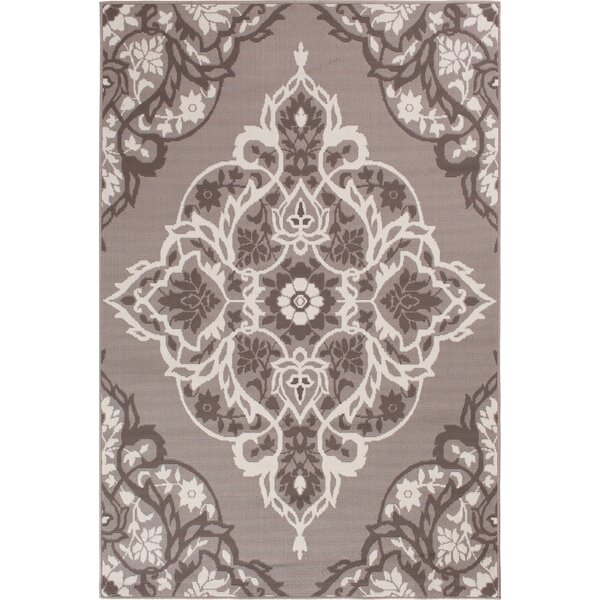 Sattler Gray/White Indoor/Outdoor Area Rug by Charlton Home
