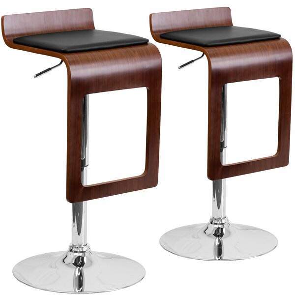 Merrick Adjustable Height Swivel Bar Stool (Set of 2) by Wrought Studio