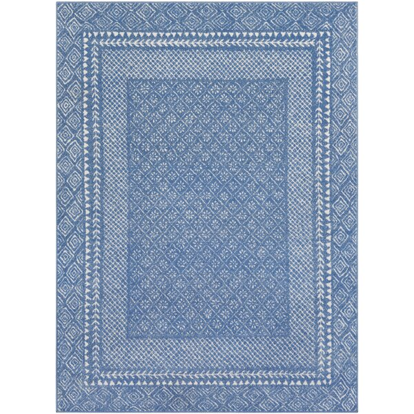 Calvo Bordered Bright Blue/Beige Area Rug by Union Rustic