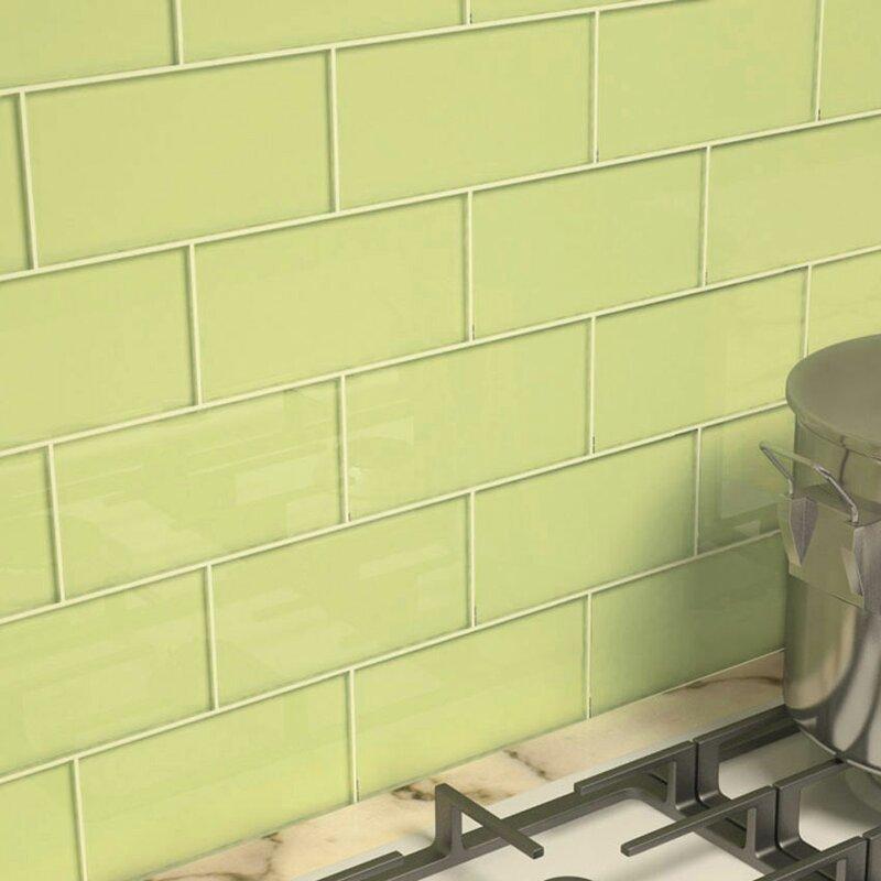 3 X 6 Gl Subway Tile In Light Olive