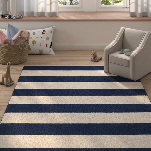 Claro Stripe Hand-Tufted Navy/Ivory Area Rug by Harriet Bee