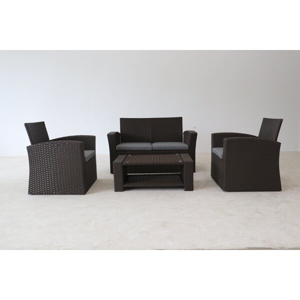 Honn 4 Piece Sofa Seating Group with Cushions by Brayden Studio Brayden Studio
