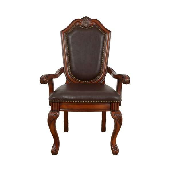 Agatha Chifon Genuine Leather Arm Chair (Set of 2) by Astoria Grand