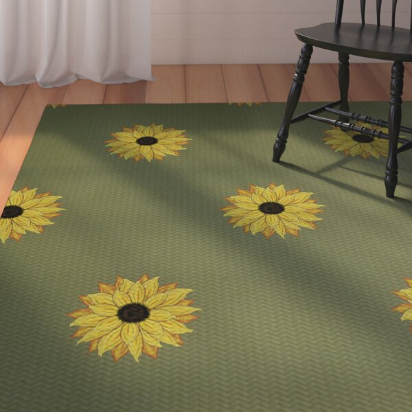 Laniel Sunflower Frenzy Flower Print Green Indoor/Outdoor Area Rug by August Grove