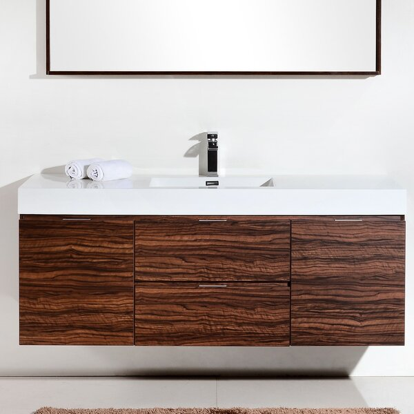 Tenafly 59 Wall-Mount Single Bathroom Vanity Set by Wade Logan