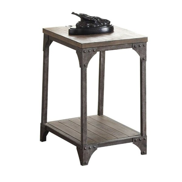 Branstetter Metal and Wood Rectangular End Table by Williston Forge