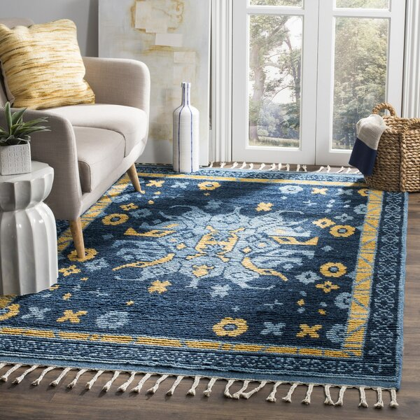 Syed Knotted Cotton Blue Area Rug by Bloomsbury Market