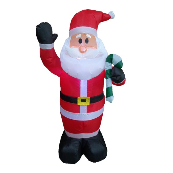 Christmas Inflatable Santa Claus with Candy Cane by The Holiday Aisle