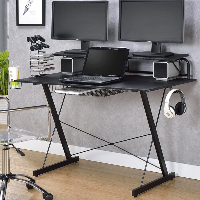 hardwood desks ideas wayfair grey for glamorous corner built desk computer flooring painted laminate charming wall into and