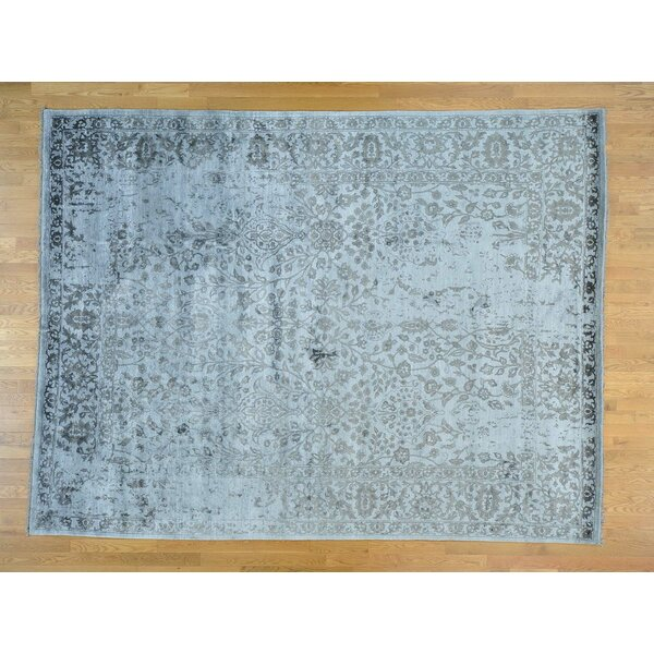 One-of-a-Kind Blaize Broken Design Art Hand-Knotted Grey Silk Area Rug by Isabelline