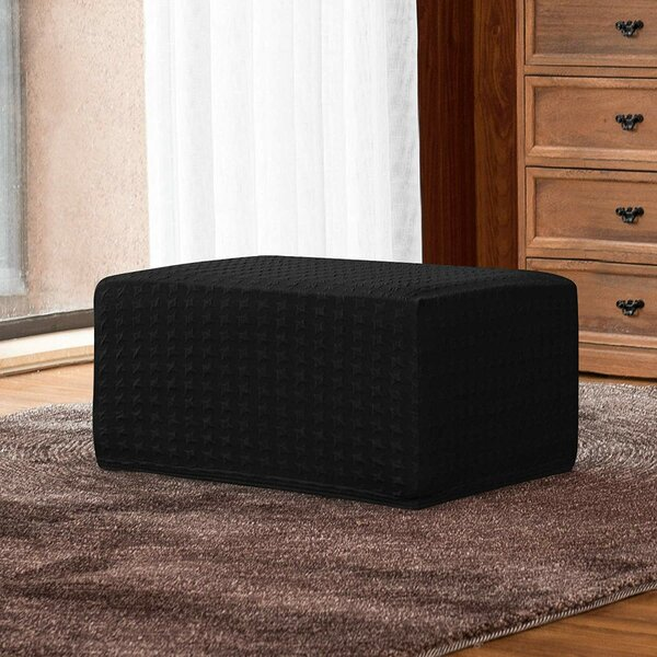 Embossed Jacquard Box Cushion Ottoman Slipcover By Winston Porter