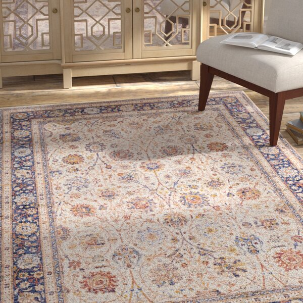 Richmond West Vintage Floral Ivory/Dark Blue Area Rug by Bloomsbury Market