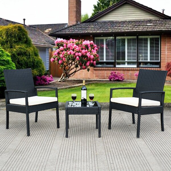 Laci Outdoor 3 Piece Rattan 2 Person Seating Group with Cushions by Ebern Designs