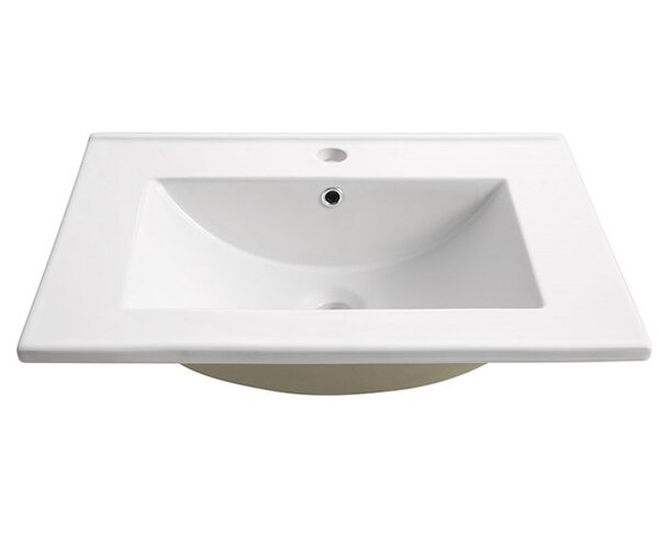 Torino Ceramic Rectangular Drop-In Bathroom Sink with Overflow by Fresca