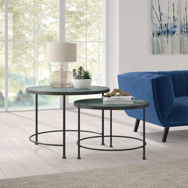 Review Buskirk Metal And Printed Glass 2 Piece Nesting Tables