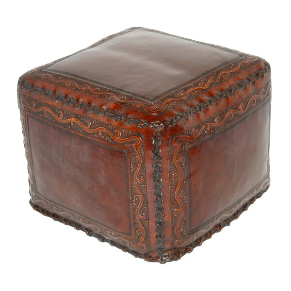 Shabaz Classic Stitch Leather Pouf By World Menagerie