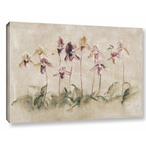 'Purple Dancing Orchids' by Cheri Blum Painting Print on Wrapped Canvas by ArtWall