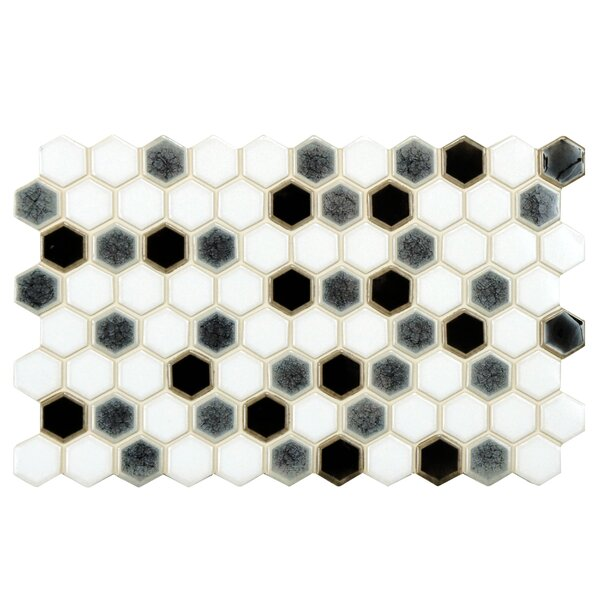 Genoa 9 x 5.5 Porcelain Mosaic Tile in Black/White by EliteTile
