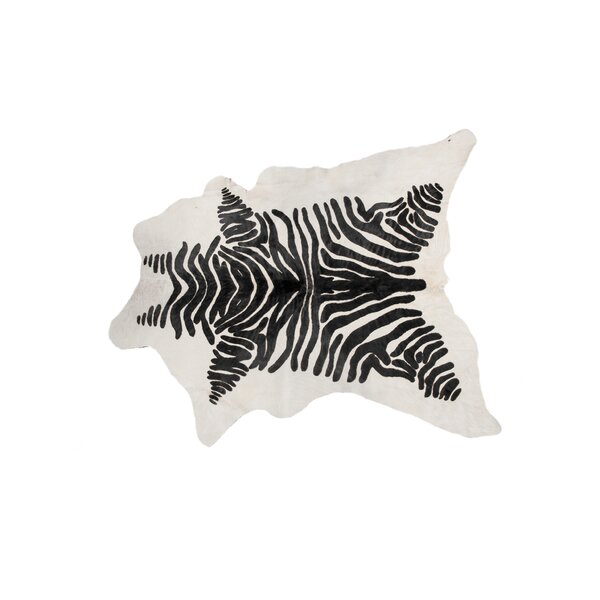 ABC Zebra Hand-Knotted Cowhide White/Brown Area Rug by Loon Peak