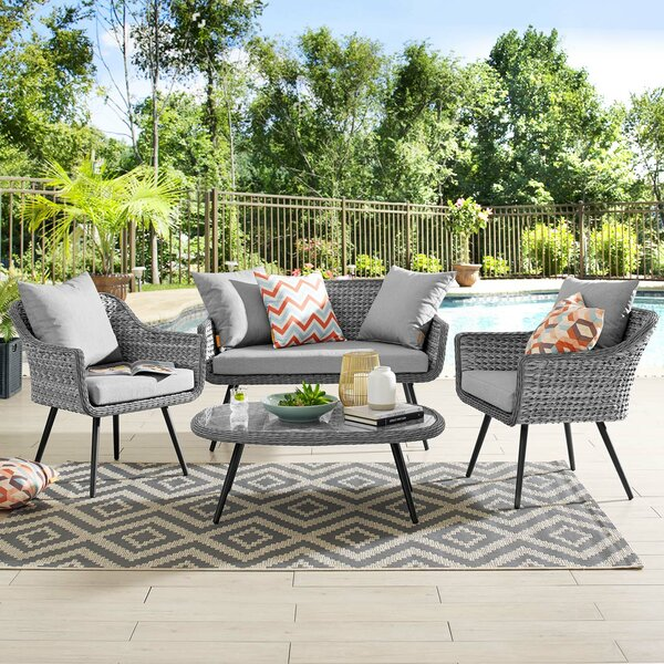 Thayne 4 Piece Sofa Seating Group with Cushions by Ivy Bronx Ivy Bronx