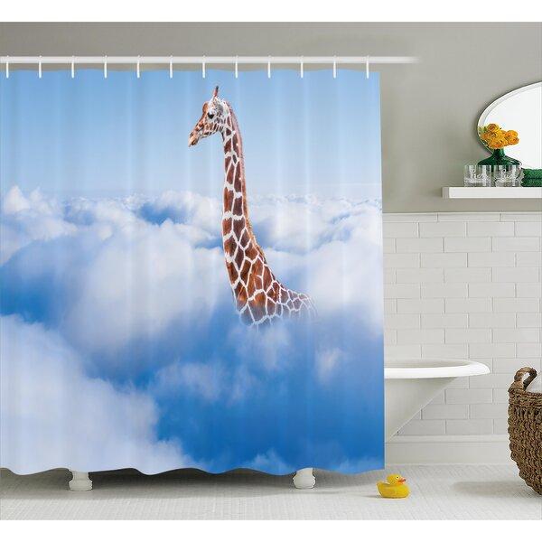 Klong Giraffe Aerial Scene of a Flying Animal Shower Curtain by World Menagerie