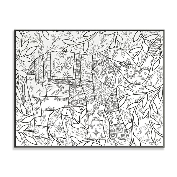 DIY Coloring Wall Plaque Elephant Graphic Art by Stupell Industries
