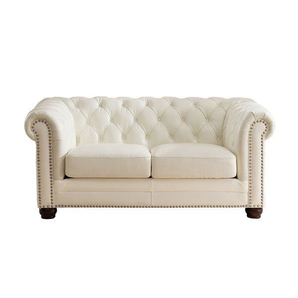 Crissyfield Leather Chesterfield Loveseat by Rosdorf Park