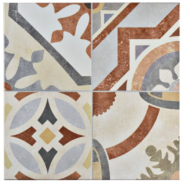 Hydraulic 13 x 13 Ceramic Field Tile in Beige/Terracotta by EliteTile