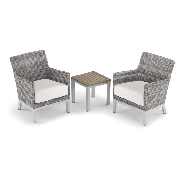Saint-Pierre 3 Piece Rattan 2 Person Seating Group with Cushions by Brayden Studio