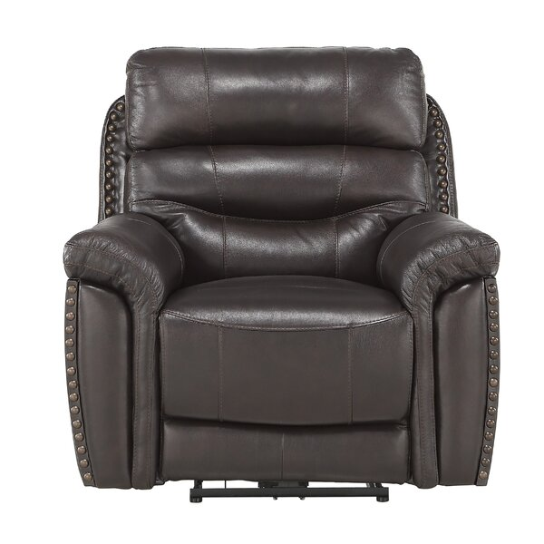 Fabric Split Back Power Recliner Chair With Nailhead Trim, Dark Brown W003181929