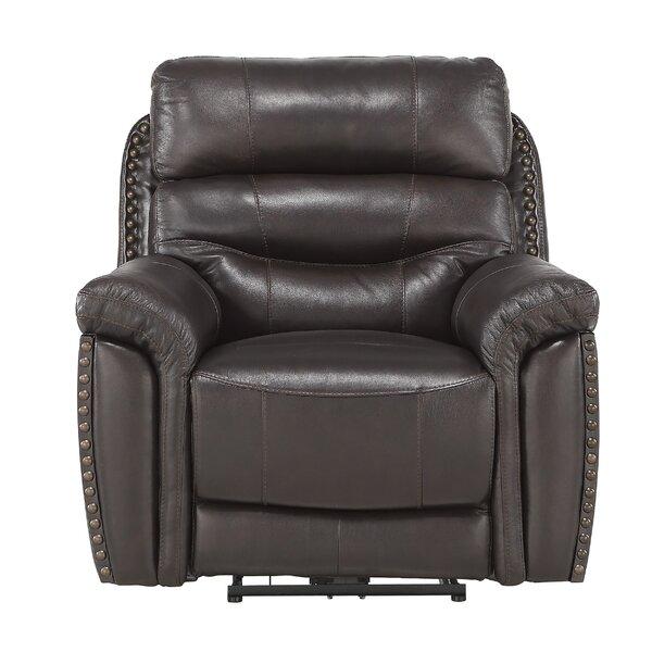 Fabric Split Back Power Recliner Chair With Nailhead Trim, Dark Brown W003181929