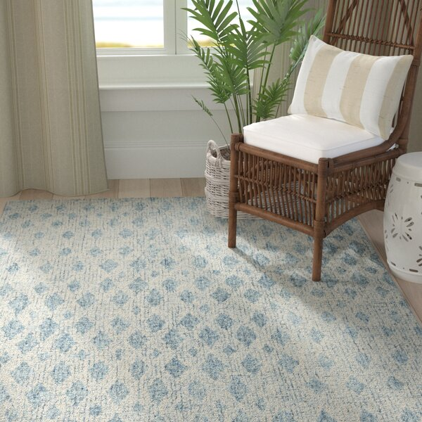 Hartwell Kazer Abstract Hand-Tufted Wool Ivory/Blue Area Rug by Greyleigh