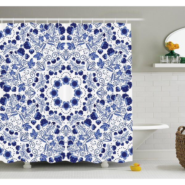 Flower Middle Eastern Swirl Petals with Ethnic Ottoman Folk Art Effects Boho Arabesque Design Shower Curtain Set by Ambesonne