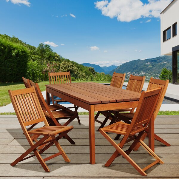 Bridgepointe Eucalyptus 9 Piece Dining Set by Rosecliff Heights