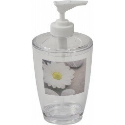 Zen Garden Clear Acrylic Printed Bathroom Soap and Lotion Dispenser by Evideco