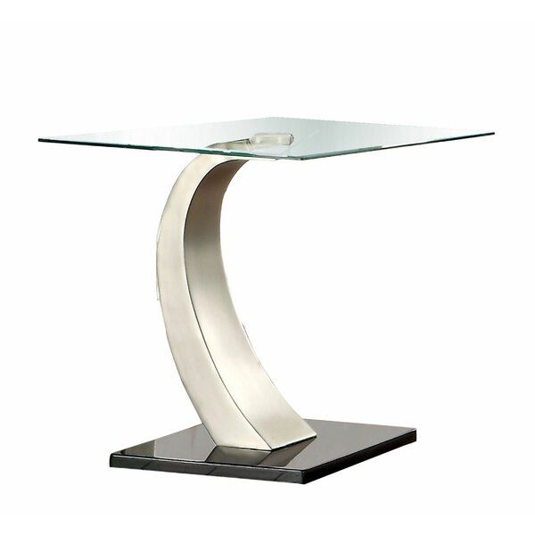 Daine Glass Top Abstract End Table By Orren Ellis