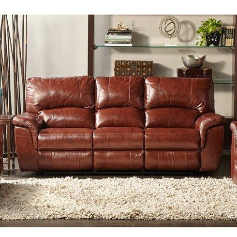 Albertus Leather Reclining Sofa by Loon Peak