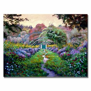 'Monet's Giverny' by David Lloyd Glover Framed Painting Print on Canvas by Trademark Fine Art