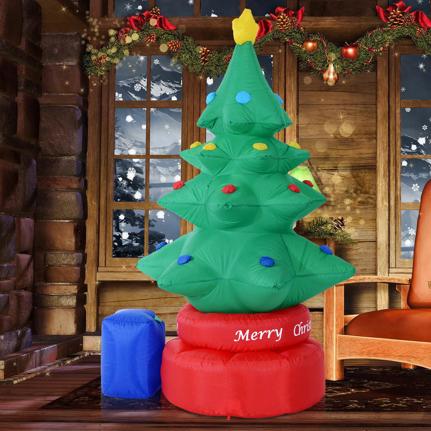 Christmas Tree Inflatable.Rotating Animated Christmas Tree Led Lighted Outdoor Air Blown Inflatable