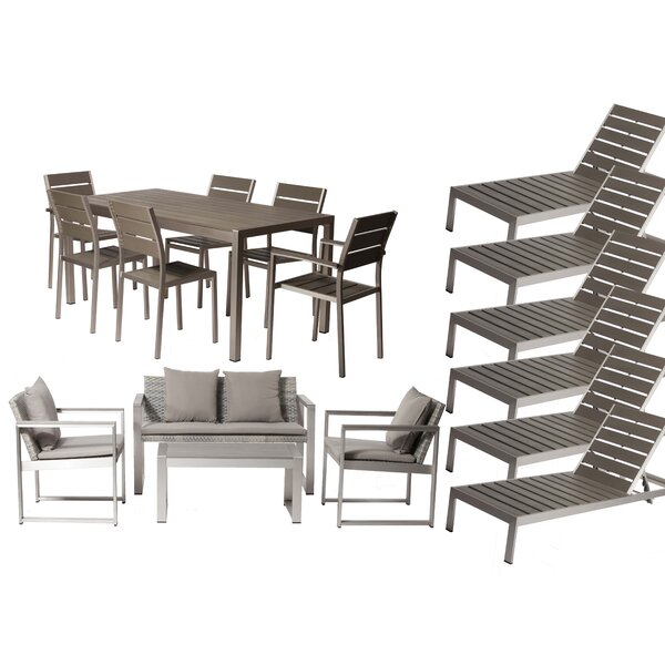 Carrell 17 Piece Rattan Conversation Set with Cushion by Orren Ellis