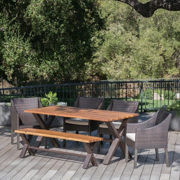 Arcadia Outdoor 6 Piece Dining Set with Cushions by Brayden Studio