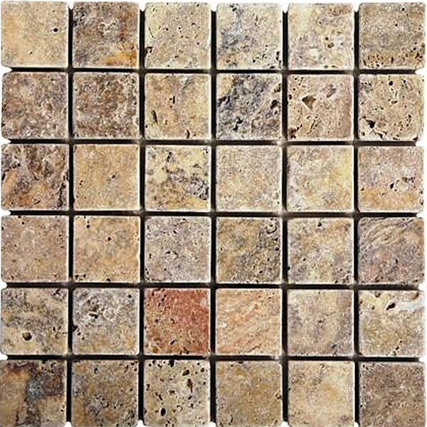 Scabos 2 x 2 Travertine Mosaic Tile in Multi by Epoch Architectural Surfaces