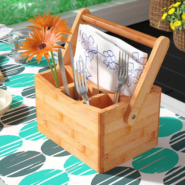 Bamboo Flatware Caddy With Folding Handle By Rebrilliant.