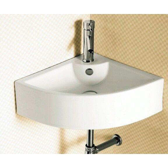 """caracalla ceramica ceramic 25.8"""" corner bathroom sink with"""